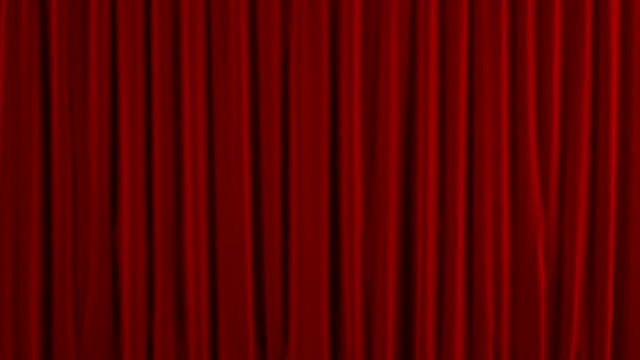 Red theater curtain GO down. With alpha channel video