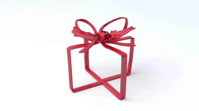 Red tying bows in box shape on bright background. video