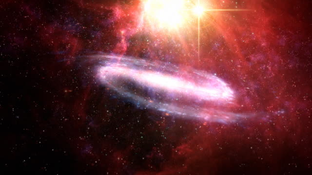 Red universe with galaxy and nebula video