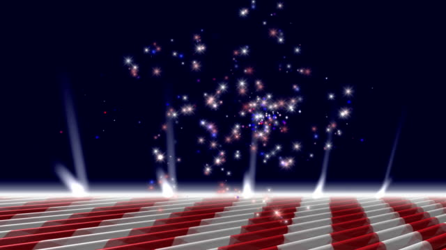 Red White and Blue Fireworks Loop w Alpha video