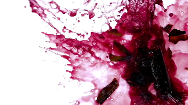 Red Wine Bottle Smashes On White Floor Surface video