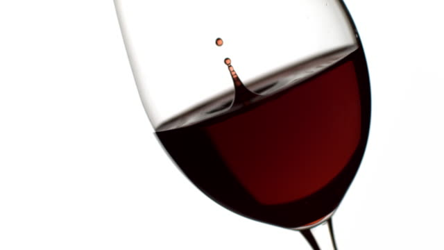 Red wine drip in slow motion video