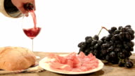 red wine, ham and salami video