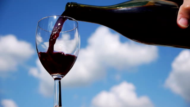Red wine poured into glass by bottle video
