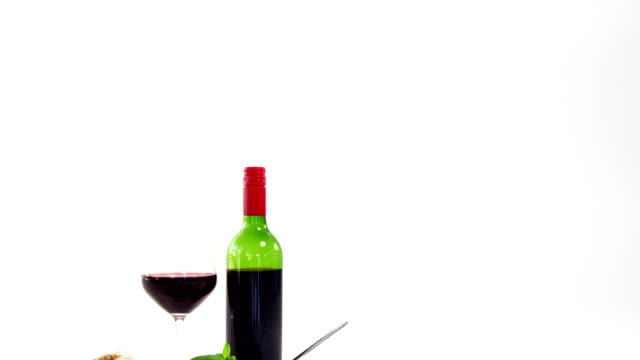 Red wine with bowl of pasta video