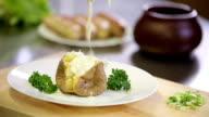 Reeky hot potato dish in jacket with tar tar sauce video