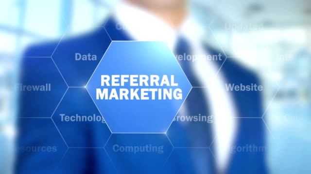 Referral Marketing, Man Working on Holographic Interface, Visual Screen video