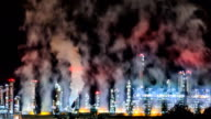 Refinery Night Panning+Zoom Out TIME LAPSE video