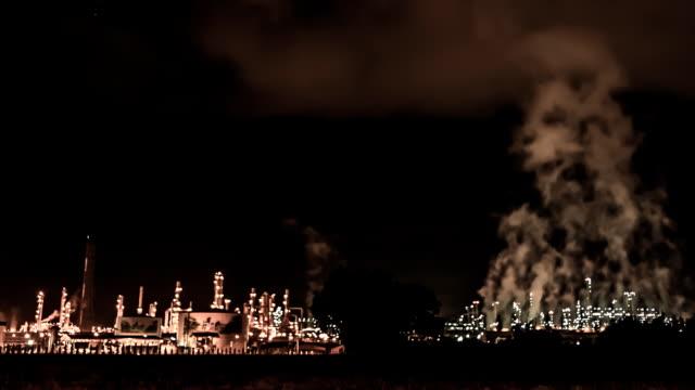 Refinery Night Scene TIME LAPSE video