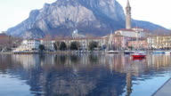 Reflection in water of lake. Italy, Europe. video