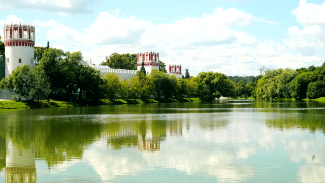 Reflection of the walls of the Novodevichy Convent in the pond video