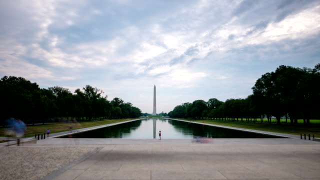 Reflection pool Washington DC day time lapse video