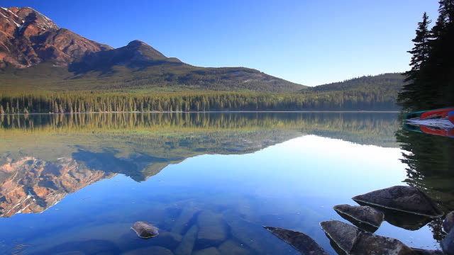 Reflections of Mountains and Canoes in Lake video