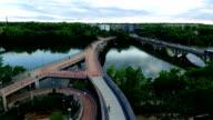 Reflections on Lady Bird Lake Over Pedestrian Hike and Bike Walking Bridge video