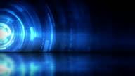Reflective Floor Background Loop - Blue Rings (Full HD) video