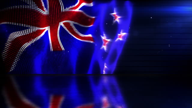 Reflective Floor Background Loop - The New Zealand Flag HD video
