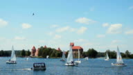 Regatta on the lake near Trakai Castle video