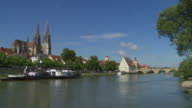 T/L Regensburg Old Town And Danube River video