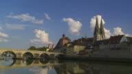 T/L Regensburg Old Town And Stone Bridge video
