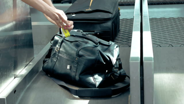 Registration of baggage in aiport.Travel concept. video