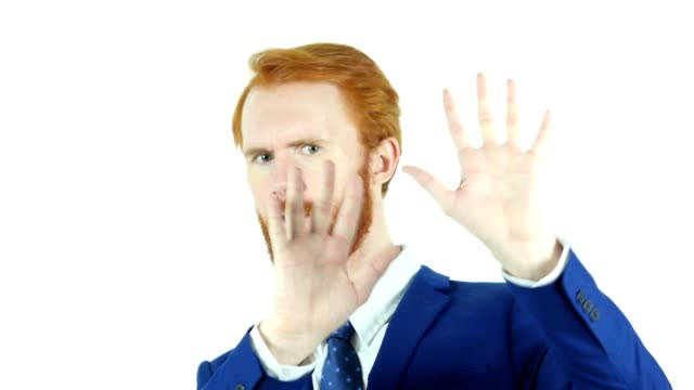 Rejecting, Disliking Gesture by Red Hair Beard Businessman, Isolated video