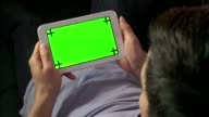 Relax At Home Internet Green Screen Monitor Man Ipad Tablet video