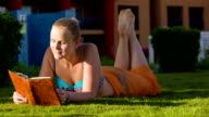 Relaxation with reading on resort video