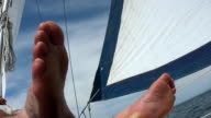 HD: Relaxing On A Sailboat video