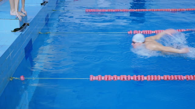 Relay Race. Competition In the Pool video