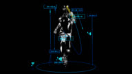 3D relay race man with technical data video
