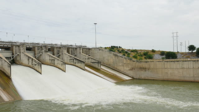 Releasing water flow from the dam. video