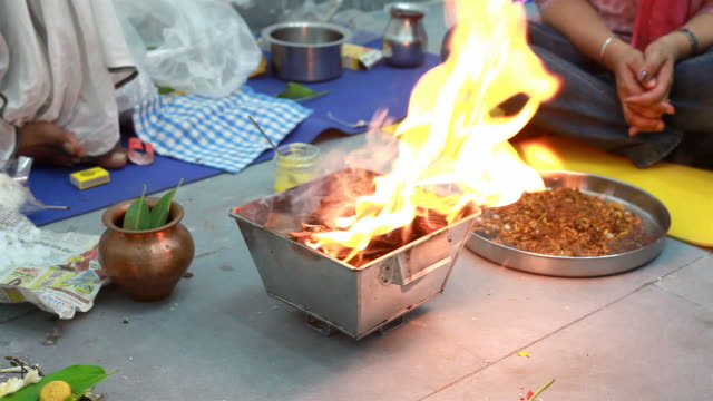 Religious offering called Havan and prayers in Hinduism video