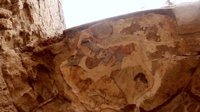 Remaining mosaics on ruins of antique town Salamis east Cyprus Famagusta video