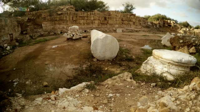 Remainings of columns on Antique street ruins Salamis Cyprus video