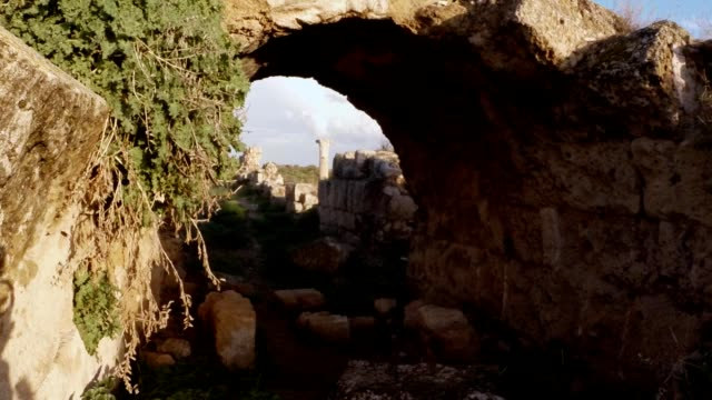 Remainings of old arch column on place of temple of Zeus antique town Salamis east Cyprus Famagusta video