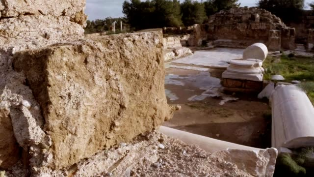 Remainings of white columns in ruins of antique town Salamis east Cyprus Famagusta video