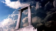 Remains of an ancient greek temple with clouds video