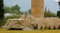 Remains of demolished marble column at Temple of Olympian Zeus in Athens, Greece video