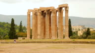 Remains of Temple of Olympian Zeus in Athens, sightseeing tour around Greece video