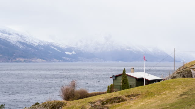 Remote house by the fjord, Norway video