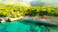 AERIAL Remote Idyllic Camp On Island Hvar video