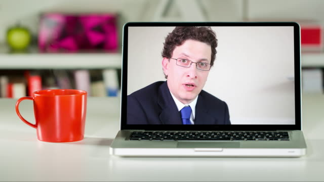 Remote lawyer consultation on laptop video