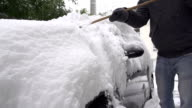 SLOW MOTION: Removing snow from a car video