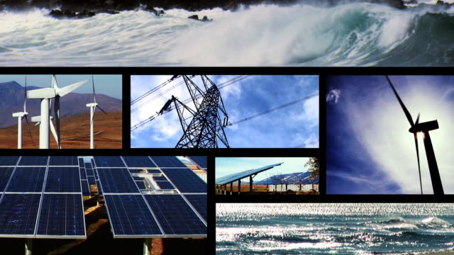 Renewable energy animating montage video