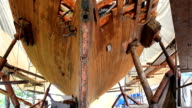Repaired frame of wooden boat video