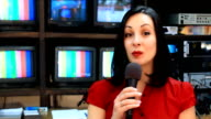 TV reporter in front of the studio camera video
