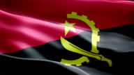 Republic of Angola national flag. (New surge and lighting effect) video
