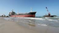 rescue aground cargo ship video
