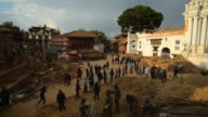 KATHMANDU, NEPAL - APRIL 29, 2015: Rescue team at Durbar Square which was severly damaged after the major earthquake video