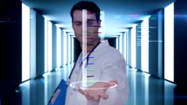 Researcher analyzing dna video